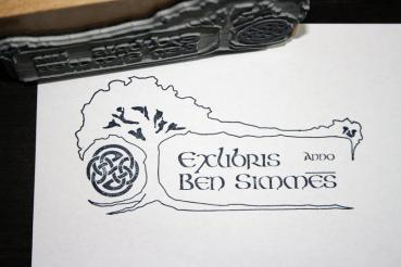 Individual Exlibris/bookplate stamp with Celtic Tree of Life